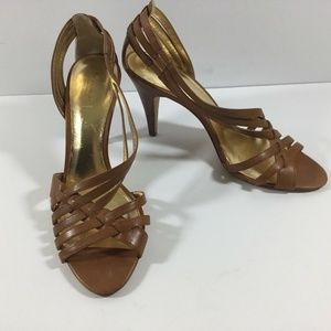 Coach Heels 9M Brown Faux Leather Strappy Sandals